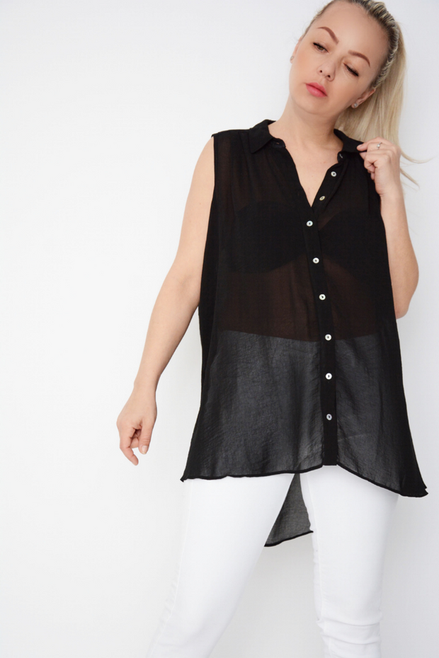 Black Sheer Light Crepe Longline Shirt