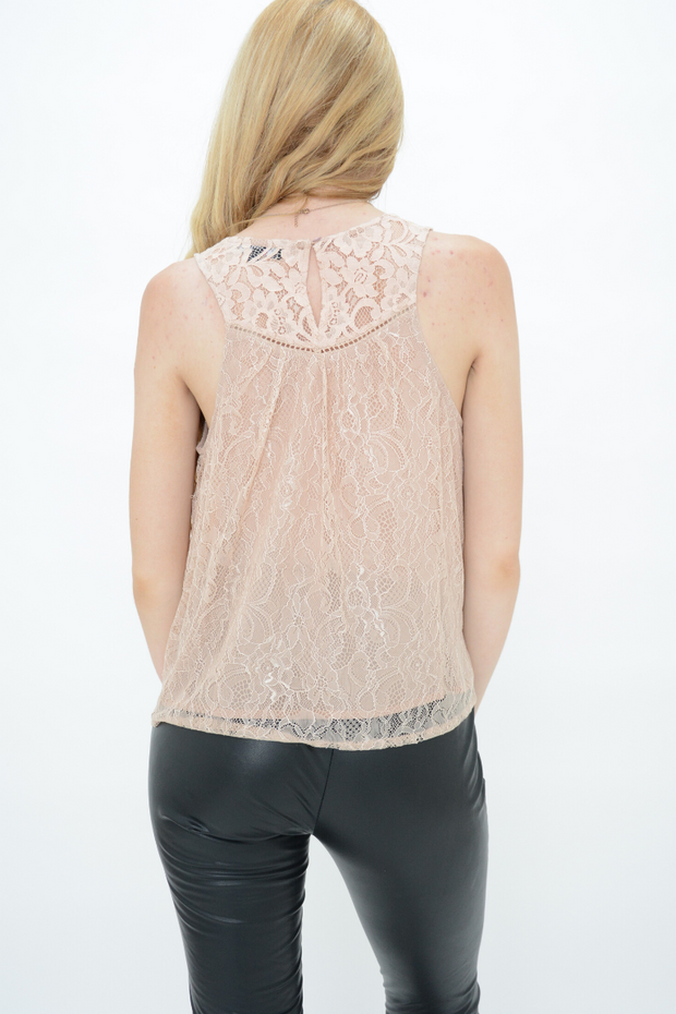 Peach Lace Lined Smock Top