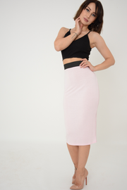 Baby Pink Jersey Knee Pencil Skirt