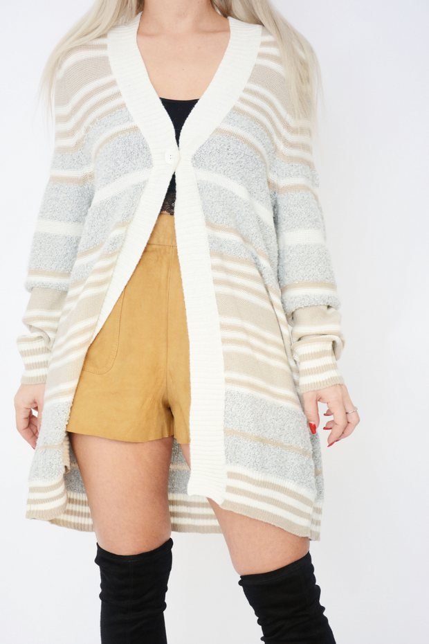 Cream Stripe Single Button Fine Knit Cardigan