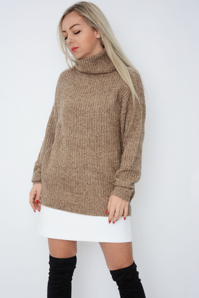 Brown Soft Knit Roll Neck Jumper