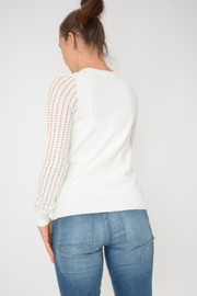 French Connection White Knit Zip Cardigan
