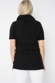 Black Cowl Neck Short Sleeve Knitted Jumper