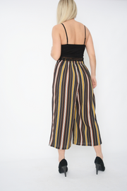 Black Stripe Belted Crepe Cropped Culottes