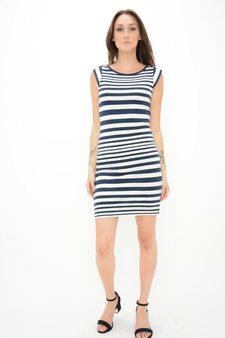 FRENCH CONNECTION NAVY STRIPE JERSEY BODYCON DRESS