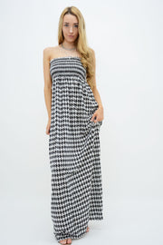 White Dogtooth Shirred Maxi Dress