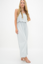 Silver Grey Racer Back Jersey Maxi Dress