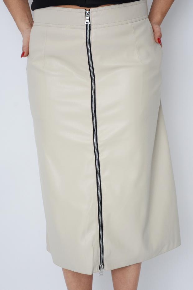 French Connection Stone Pu Pencil Skirt
