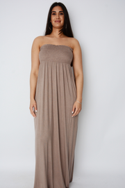 Mocha Shirred Jersey Bandeau Maxi Dress