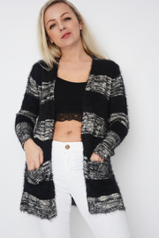 Black Eyelash Fluffy Colour Block Longline Cardigan