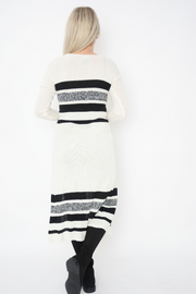 White Soft Knit Lightweight Stripe Longline Cardigan