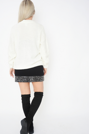 White Cable Knit Crew Neck Jumper