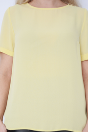 Yellow Crepe Lightweight Sort Sleeve Top
