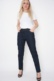 Navy Mid Rise Straight Leg Jeans