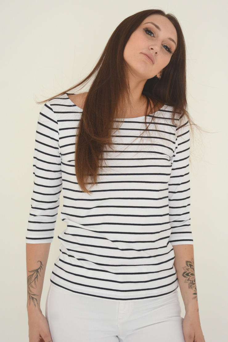 FRENCH CONNECTION WHITE STRIPE JERSEY TOP