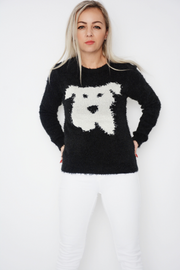 Black Dog Face Knit Soft Fluffy Jumper