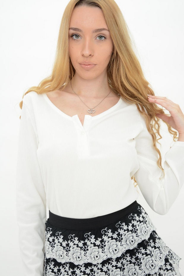 White Ribbed Long Sleeve Bodysuit Top