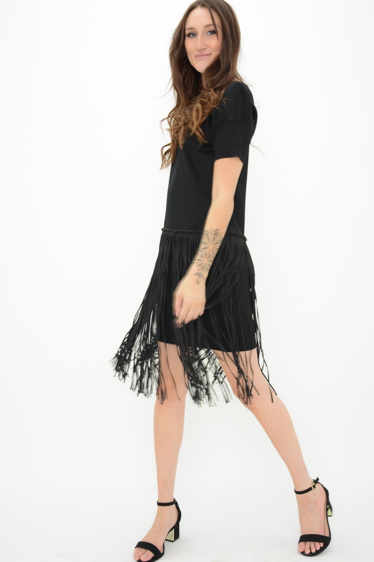 French Connection Black Knit Fringe Flapper Dress