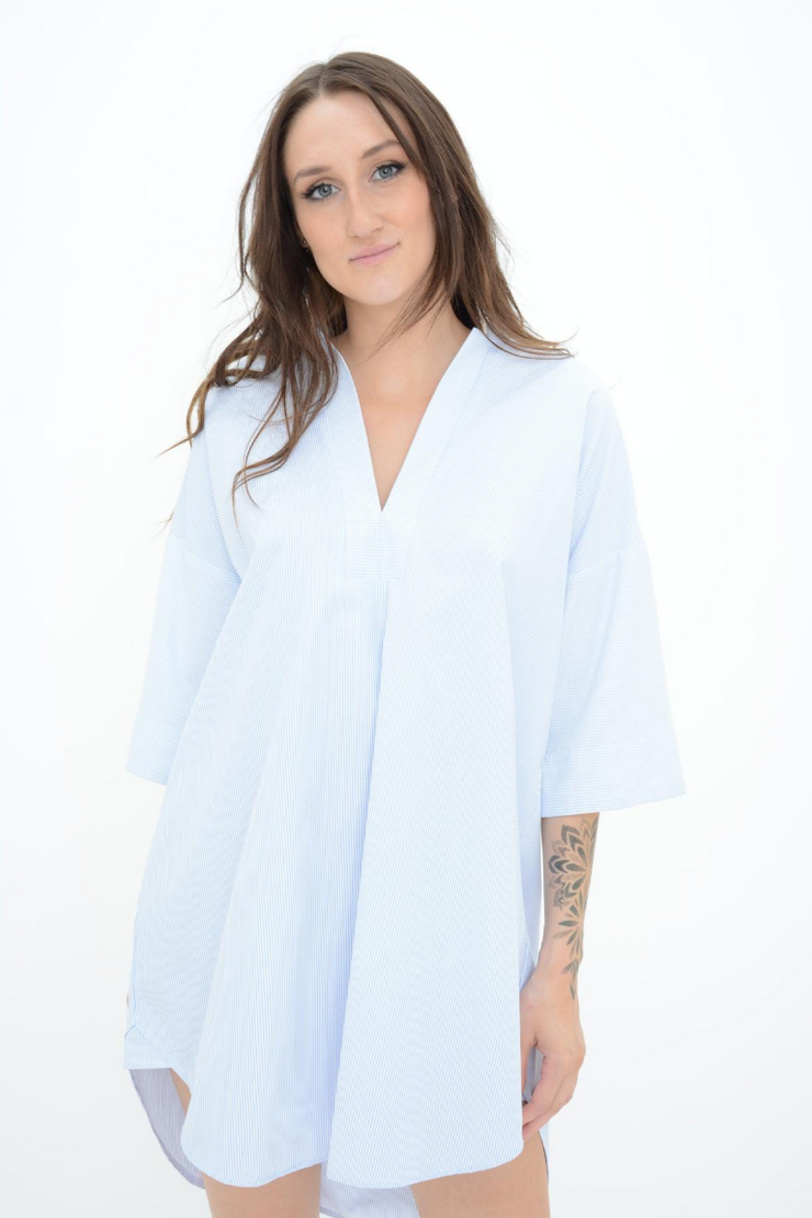 French Connection Blue Stripe Broderie Anglaise Longline Shirt Dress