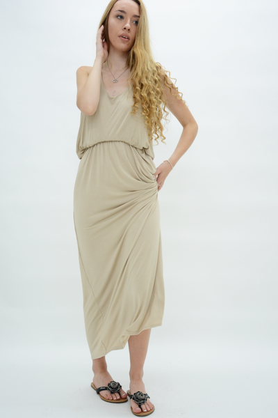 Stone Racer Back Jersey Maxi Dress