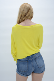 Yellow Jersey Boat Neck Casual Top