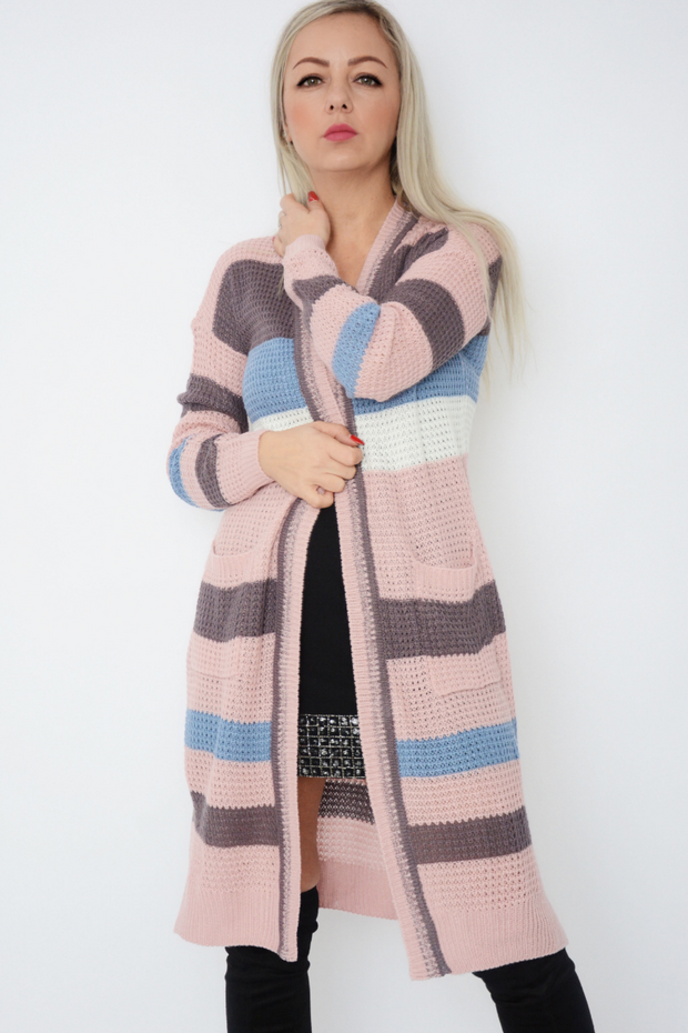 Pink Colour Block Fine Knit Longline Cardigan