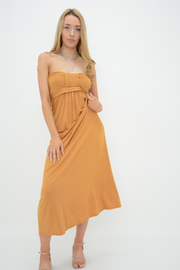 Camel Front Bow Bandeau Jersey Maxi Dress