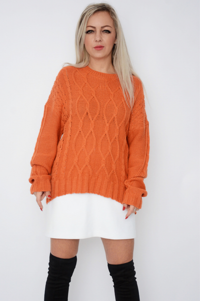 Burnt Orange Cable Knit Jumper