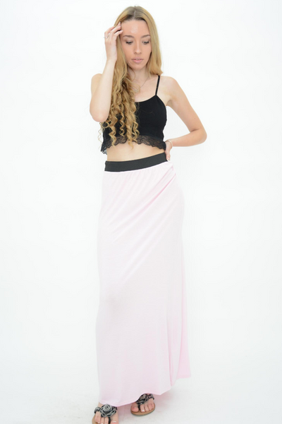 Cream Jersey Casual Maxi Skirt