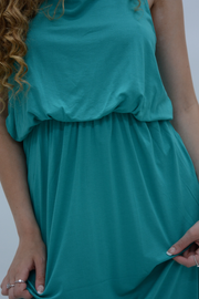 Pine Green Jersey Racer Back Maxi Dress