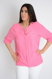 Pink Reglan Sleeve Self Tie Blouse