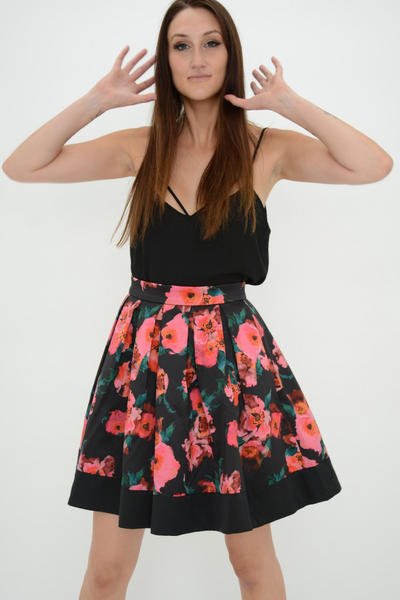 French Connection Black Poppy Allegro Satin Flared Skirt