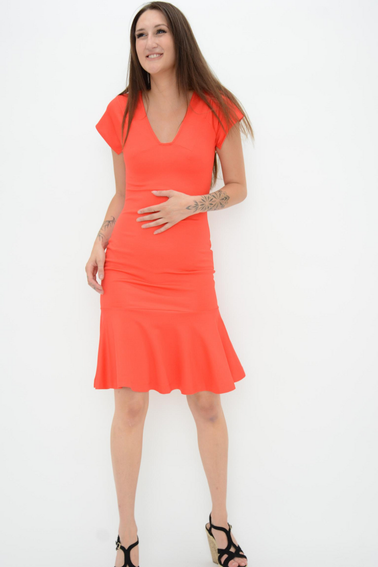 FRENCH CONNECTION RED PONTI FRILL HEM DRESS
