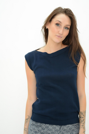French Connection Navy Cap Sleeve Knit Top