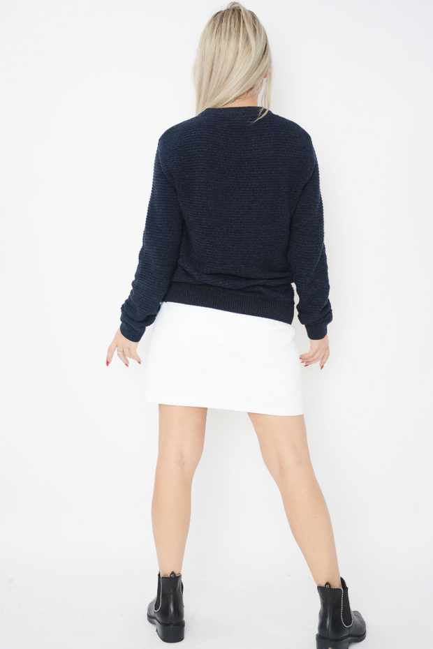Navy Ribbed Med Knit Jumper