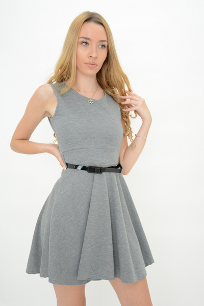 Grey Belted Fit & Flared Mini Dress