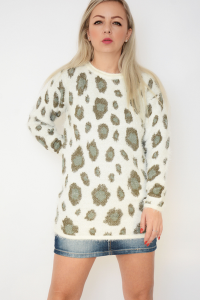 White Patchwork Soft Fluffy Knit Jumper