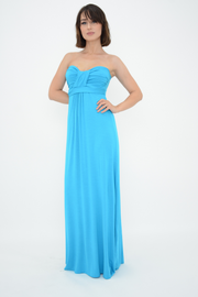 Turquoise Bow Front Bandeau Jersey Maxi Dress