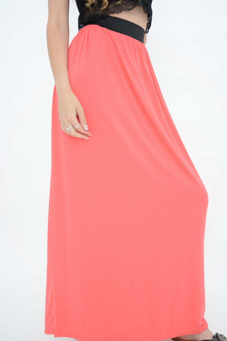 Candy Pink Jersey Casual Maxi Skirts