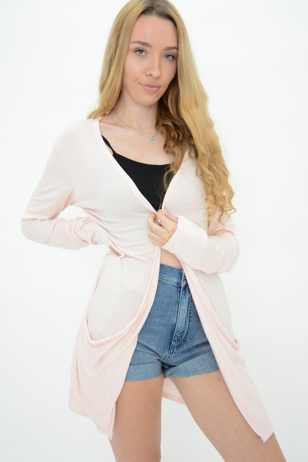 Peach Jersey Drop Pockets Casual Cardigan