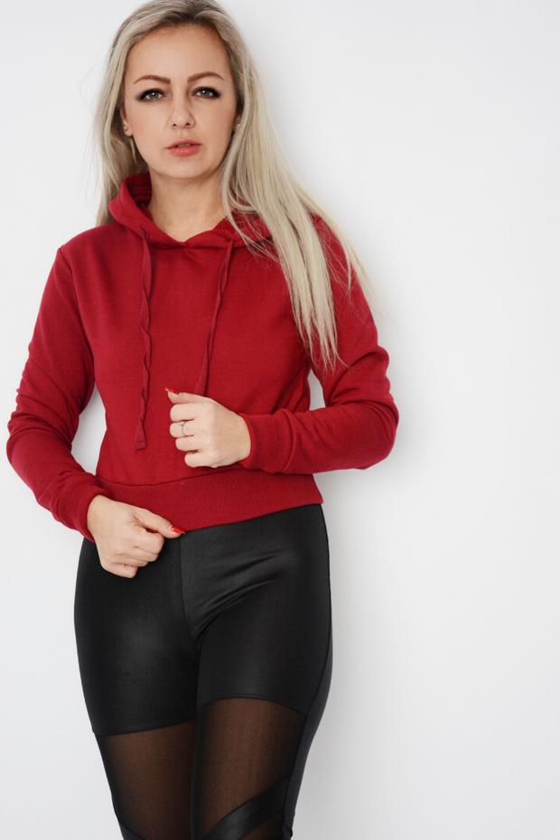 Wine Jersey Cropped Hoodie Sweater