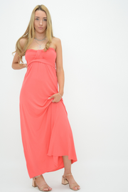 Coral Front Bow Bandeau Jersey Maxi Dress