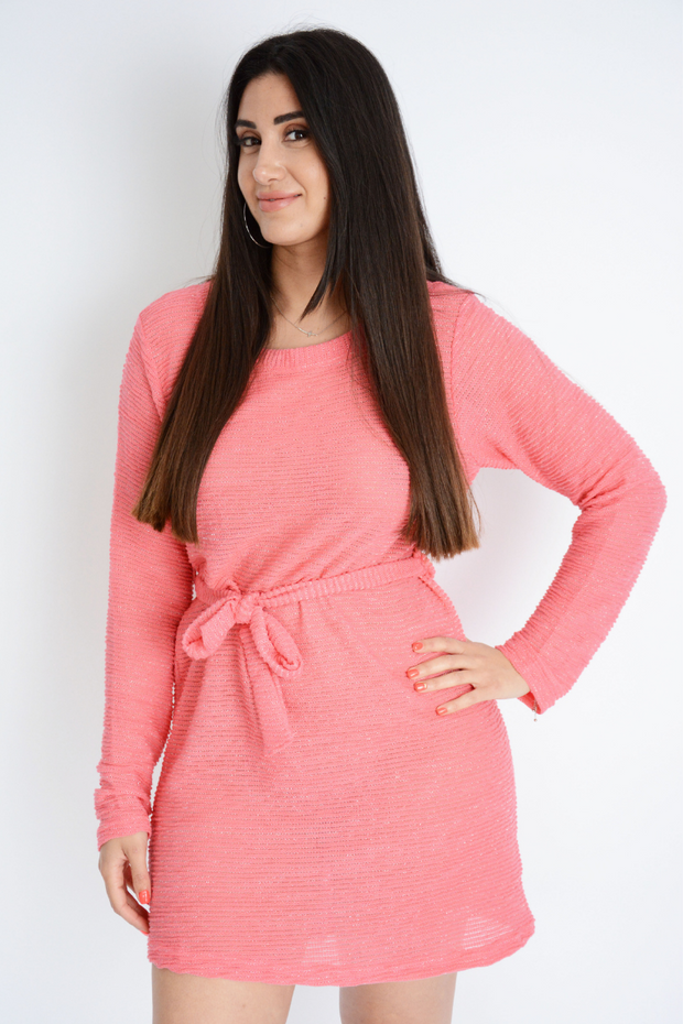 Pink Shimmer Light Knit Self Tie Dress