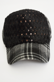Black Check Fur Sequin Strap Back Baseball Cap