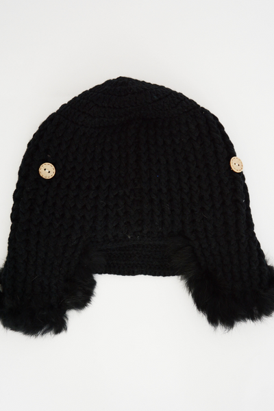 Black Chunky Knit Fur Trapper Hat