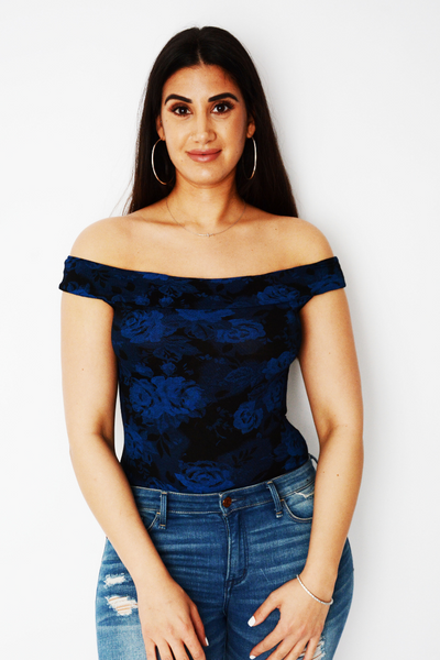 Blue Rose Print Off Shoulder Bodysuit