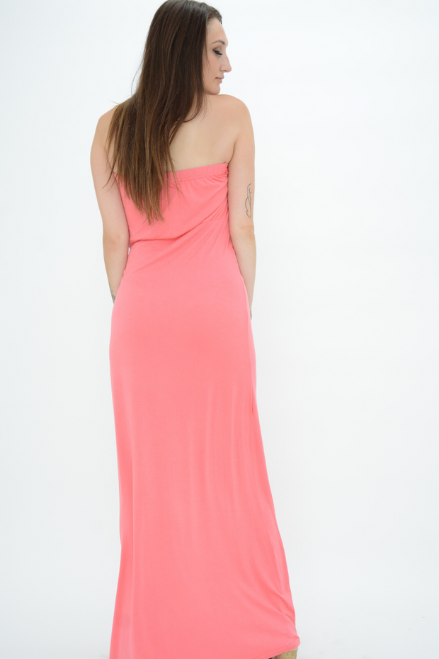 Coral Bow Bandeau Jersey Maxi Dress