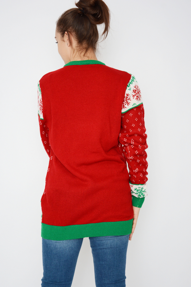 Red Snowflakes Print Knit Christmas Jumper