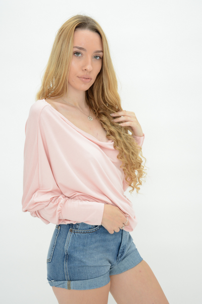 Pink Jersey Longline Boat Neck Top