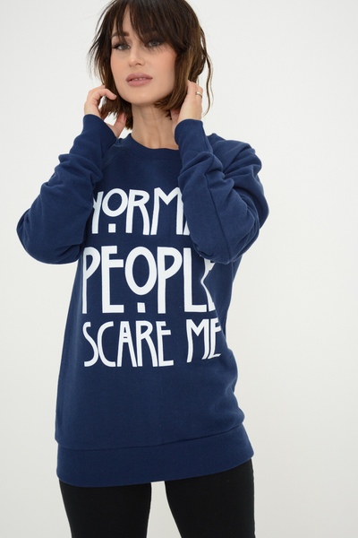 Navy Normal People Scare Me Logo Sweater